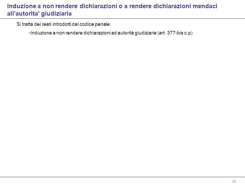 30 Si tratta dei reati introdotti dal codice penale: Induzione a non rendere dichiarazioni ad autorità giudiziarie (art.