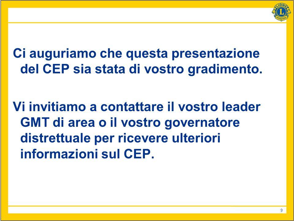 9 Ci auguriamo che questa presentazione del CEP sia stata di vostro gradimento.