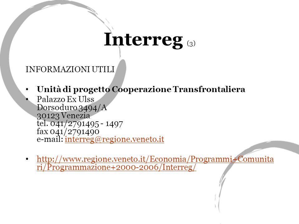 Interreg (3) INFORMAZIONI UTILI Unità di progetto Cooperazione Transfrontaliera Palazzo Ex Ulss Dorsoduro 3494/A 30123 Venezia tel.