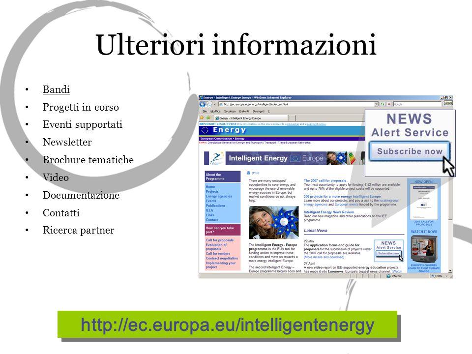 Ulteriori informazioni Bandi Progetti in corso Eventi supportati Newsletter Brochure tematiche Video Documentazione Contatti Ricerca partner http://ec.europa.eu/intelligentenergy