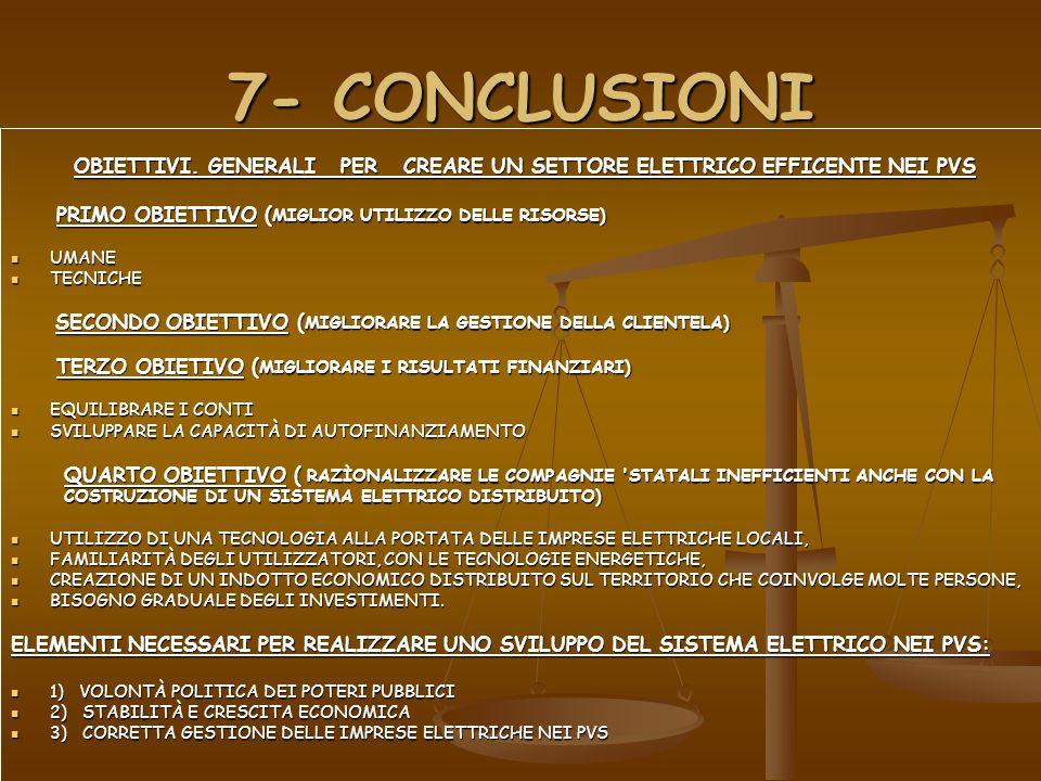 7- CONCLUSIONI OBIETTIVI. GENERALI PER CREARE UN SETTORE ELETTRICO EFFICENTE NEI PVS OBIETTIVI. GENERALI PER CREARE UN SETTORE ELETTRICO EFFICENTE NEI