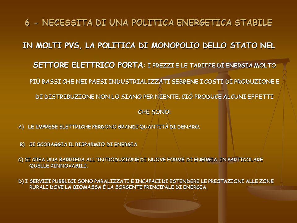 7- CONCLUSIONI OBIETTIVI.GENERALI PER CREARE UN SETTORE ELETTRICO EFFICENTE NEI PVS OBIETTIVI.