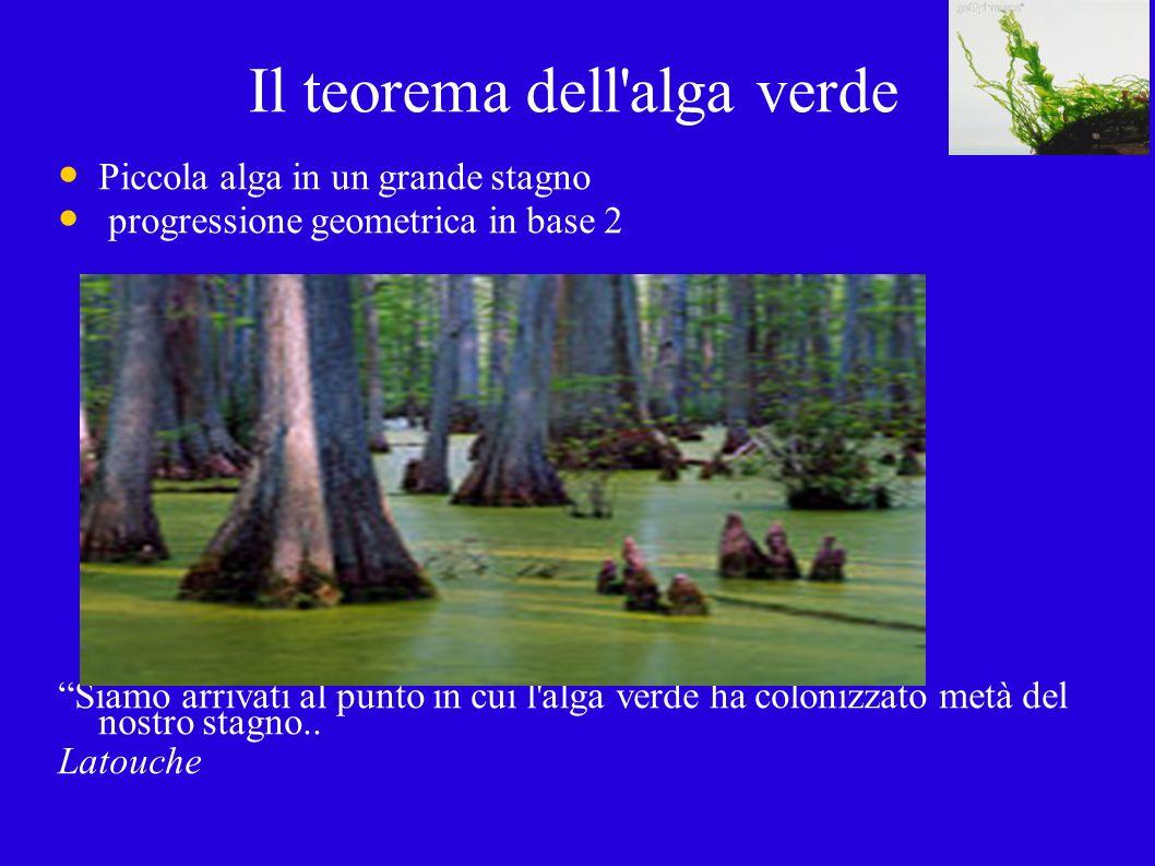 Il teorema dell alga verde Piccola alga in un grande stagno progressione geometrica in base 2 Siamo arrivati al punto in cui l alga verde ha colonizzato metà del nostro stagno..