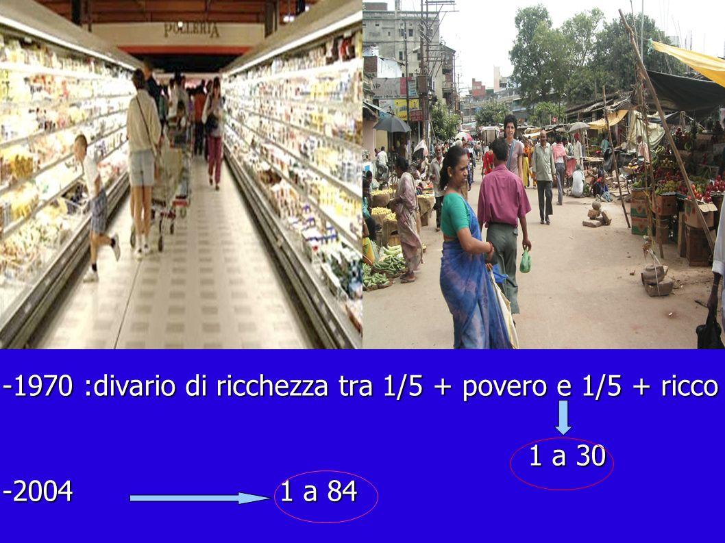 -1970 :divario di ricchezza tra 1/5 + povero e 1/5 + ricco 1 a 30 1 a 30 -2004 1 a 84