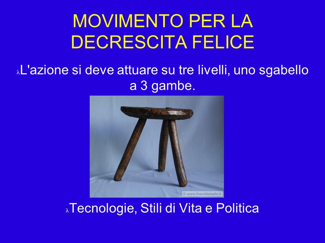 MOVIMENTO PER LA DECRESCITA FELICE L azione si deve attuare su tre livelli, uno sgabello a 3 gambe.