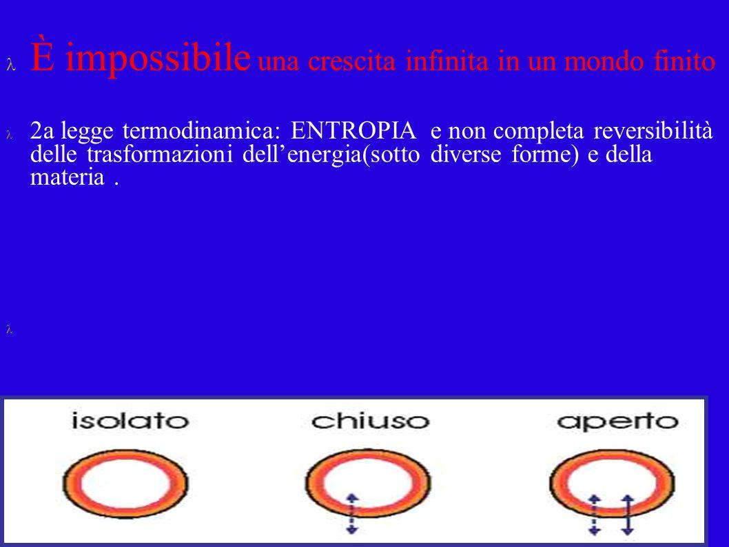 È impossibile una crescita infinita in un mondo finito 2a legge termodinamica: ENTROPIA e non completa reversibilità delle trasformazioni dellenergia(sotto diverse forme) e della materia.