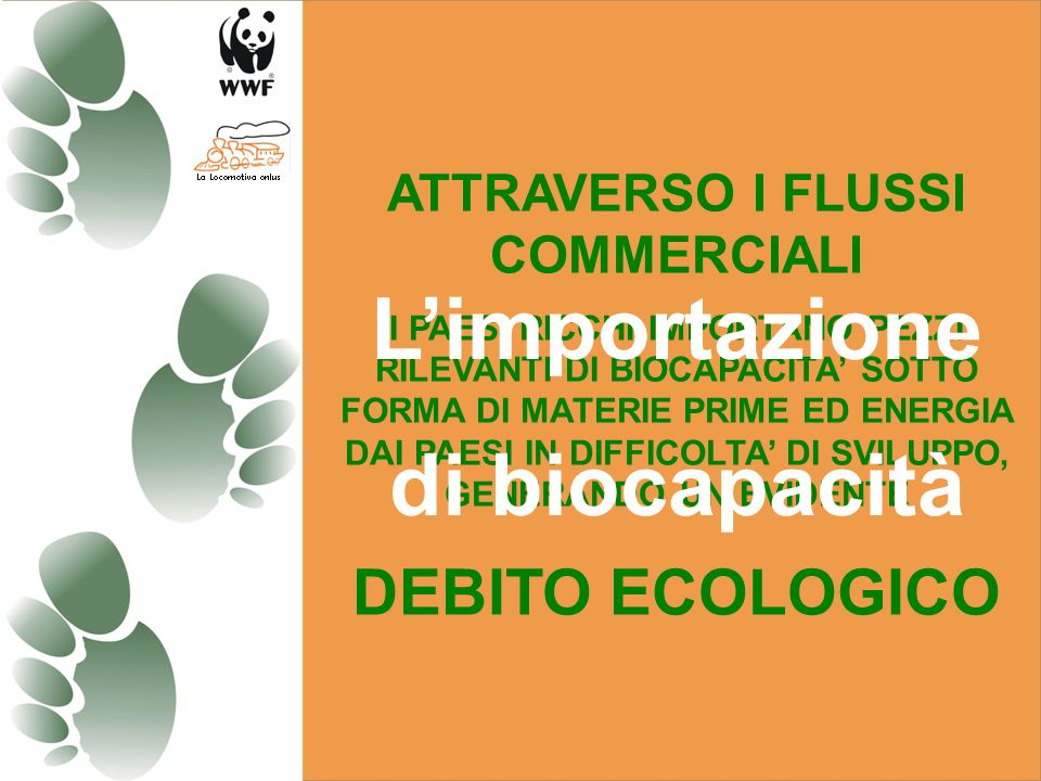 ATTRAVERSO I FLUSSI COMMERCIALI I PAESI RICCHI IMPORTANO PEZZI RILEVANTI DI BIOCAPACITA SOTTO FORMA DI MATERIE PRIME ED ENERGIA DAI PAESI IN DIFFICOLTA DI SVILUPPO, GENERANDO UN EVIDENTE DEBITO ECOLOGICO Limportazione di biocapacità