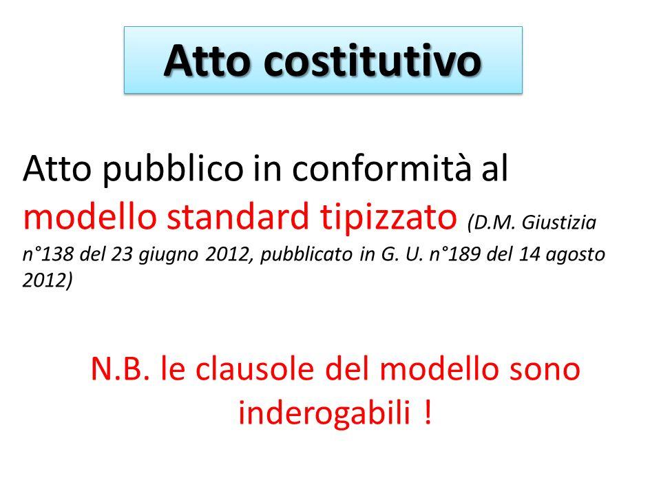 Atto costitutivo Atto pubblico in conformità al modello standard tipizzato (D.M.