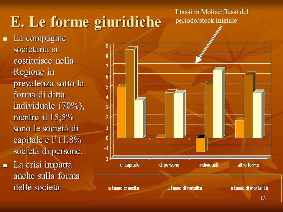 13 E. Le forme giuridiche La compagine societaria si costituisce nella Regione in prevalenza sotto la forma di ditta individuale (70%), mentre il 15,5
