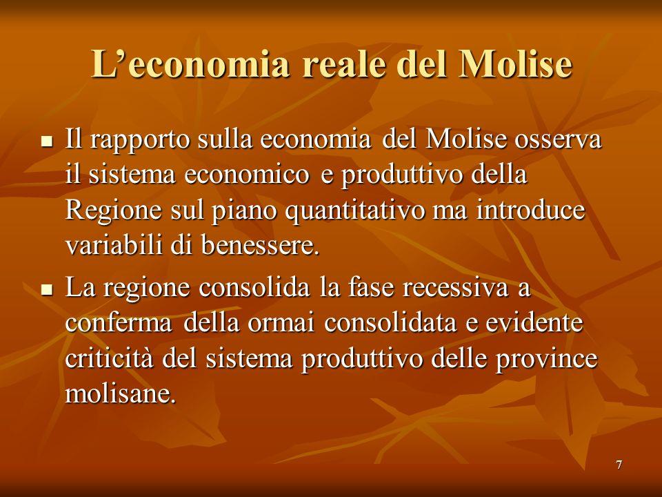 7 Leconomia reale del Molise Il rapporto sulla economia del Molise osserva il sistema economico e produttivo della Regione sul piano quantitativo ma i