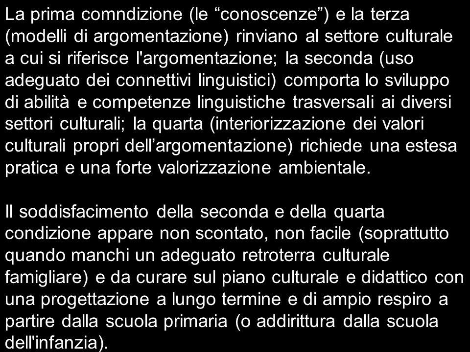 La prima comndizione (le conoscenze) e la terza (modelli di argomentazione) rinviano al settore culturale a cui si riferisce l'argomentazione; la seco