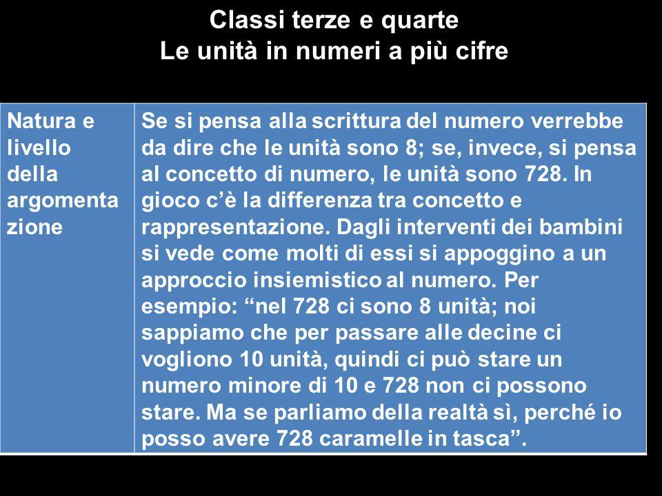 Classi terze e quarte Le unità in numeri a più cifre Natura e livello della argomenta zione Se si pensa alla scrittura del numero verrebbe da dire che