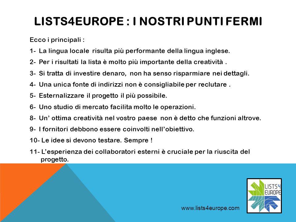 LISTS4EUROPE : I NOSTRI PUNTI FERMI Ecco i principali : 1- La lingua locale risulta più performante della lingua inglese.