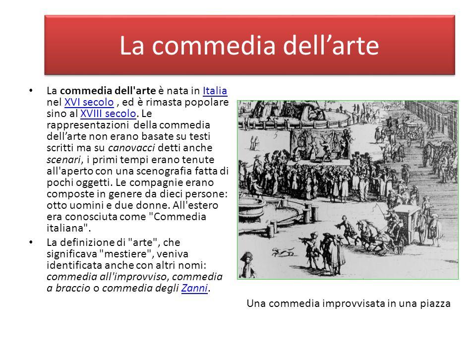 La commedia dell'arte è nata in Italia nel XVI secolo, ed è rimasta popolare sino al XVIII secolo. Le rappresentazioni della commedia dellarte non era