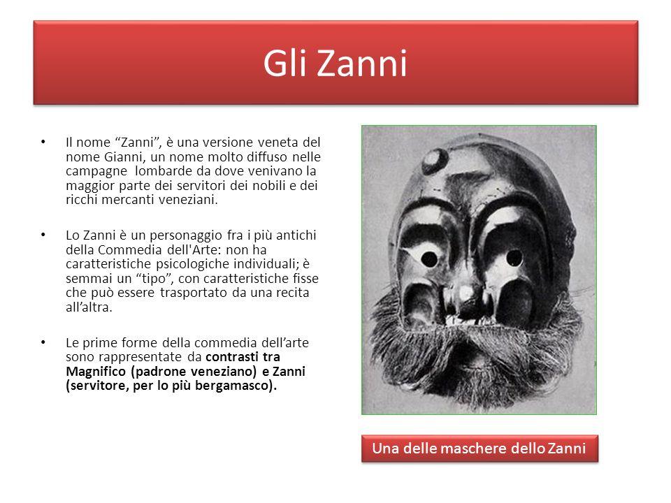 Gli Zanni Il nome Zanni, è una versione veneta del nome Gianni, un nome molto diffuso nelle campagne lombarde da dove venivano la maggior parte dei se