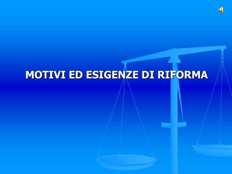 MOTIVI ED ESIGENZE DI RIFORMA