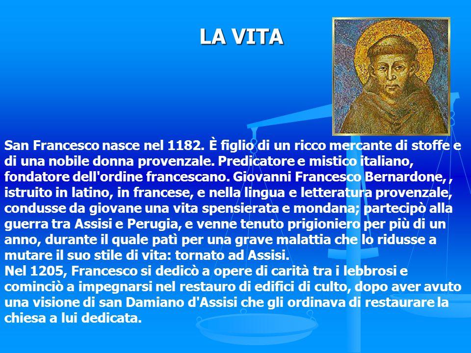 San Francesco nasce nel 1182. È figlio di un ricco mercante di stoffe e di una nobile donna provenzale. Predicatore e mistico italiano, fondatore dell