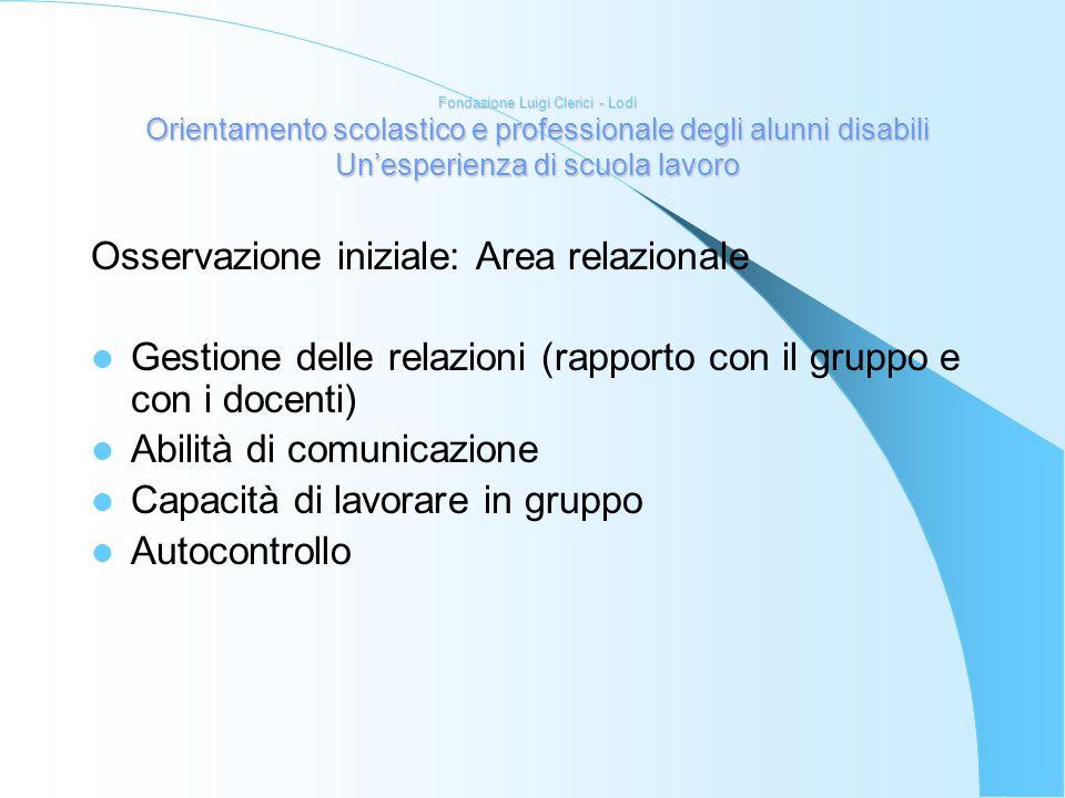 Fondazione Luigi Clerici - Lodi Orientamento scolastico e professionale degli alunni disabili Unesperienza di scuola lavoro Osservazione iniziale: Are