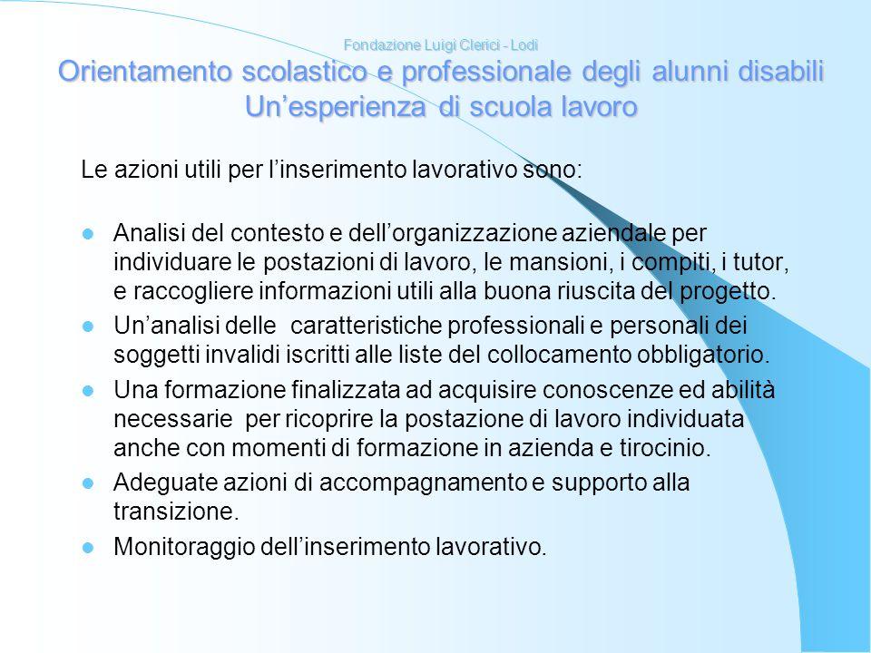 Fondazione Luigi Clerici - Lodi Orientamento scolastico e professionale degli alunni disabili Unesperienza di scuola lavoro Le azioni utili per linser