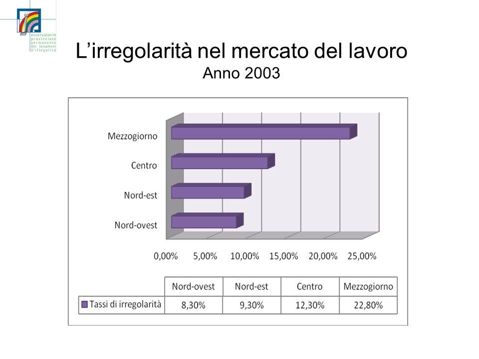 Lirregolarità nel mercato del lavoro Anno 2003