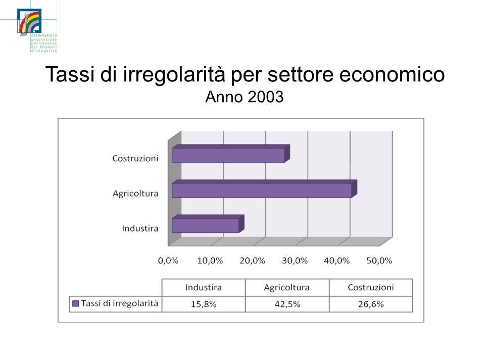 Tassi di irregolarità per settore economico Anno 2003