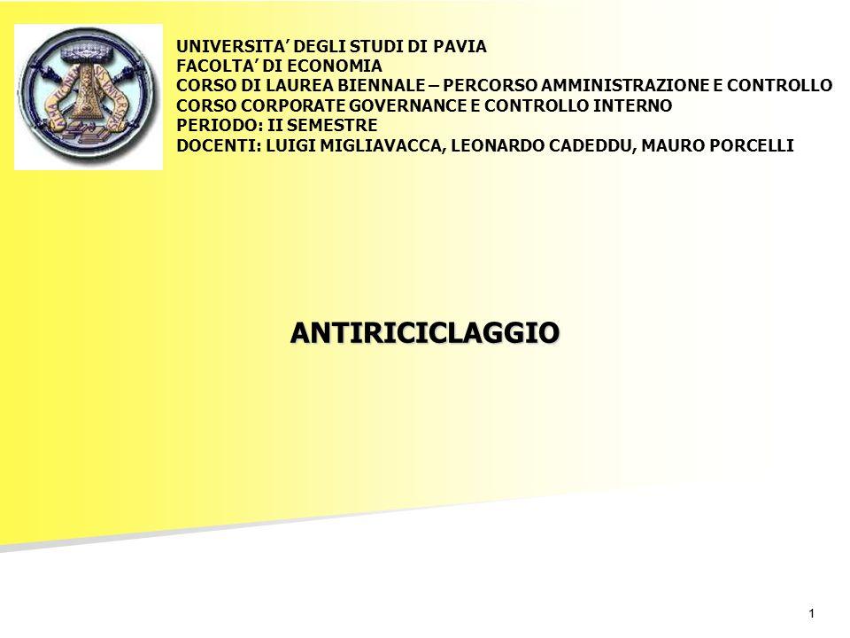 11 ANTIRICICLAGGIO UNIVERSITA DEGLI STUDI DI PAVIA FACOLTA DI ECONOMIA CORSO DI LAUREA BIENNALE – PERCORSO AMMINISTRAZIONE E CONTROLLO CORSO CORPORATE GOVERNANCE E CONTROLLO INTERNO PERIODO: II SEMESTRE DOCENTI: LUIGI MIGLIAVACCA, LEONARDO CADEDDU, MAURO PORCELLI