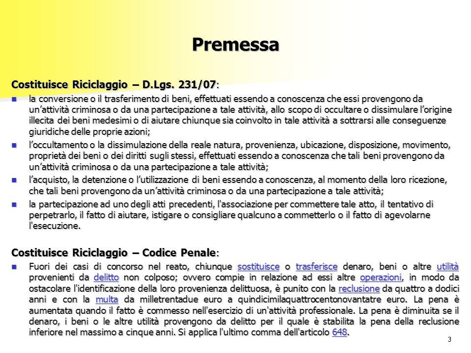33 Premessa Costituisce Riciclaggio – D.Lgs.