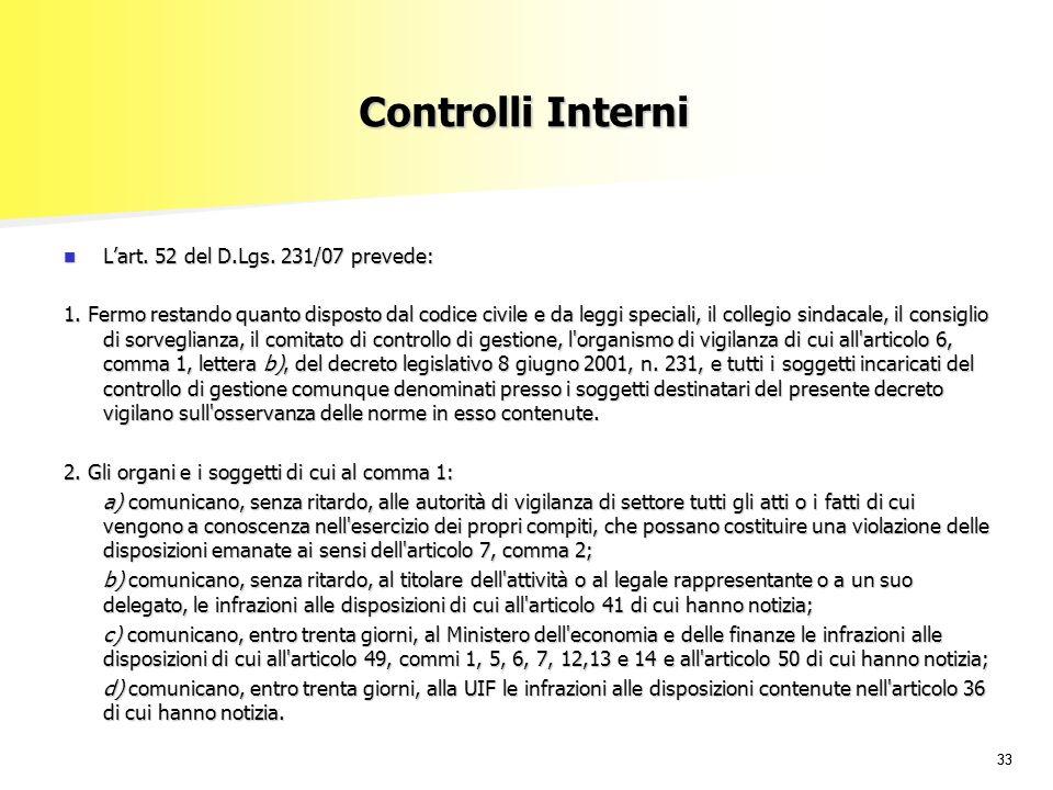 33 Controlli Interni Lart.52 del D.Lgs. 231/07 prevede: Lart.
