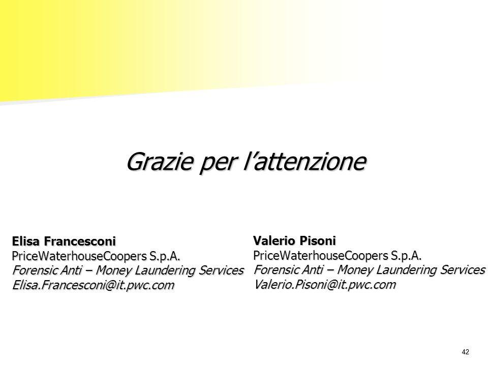 42 Grazie per lattenzione Elisa Francesconi PriceWaterhouseCoopers S.p.A.