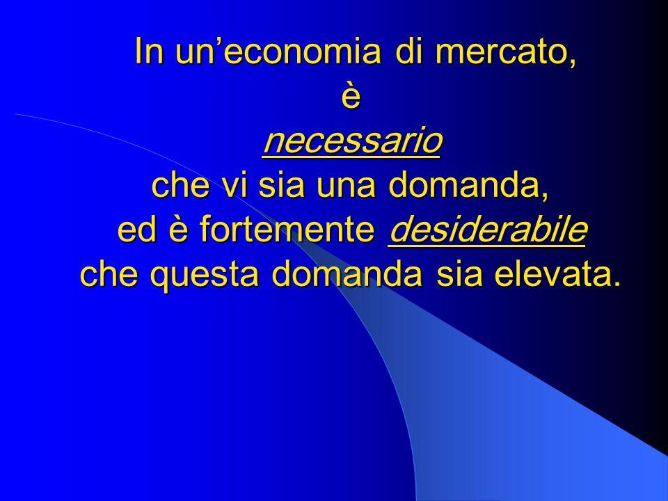 In uneconomia di mercato, è necessario che vi sia una domanda, ed è fortemente desiderabile che questa domanda sia elevata. In uneconomia di mercato,