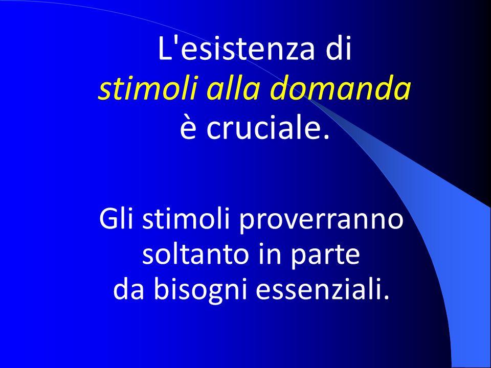 L'esistenza di stimoli alla domanda è cruciale. Gli stimoli proverranno soltanto in parte da bisogni essenziali.