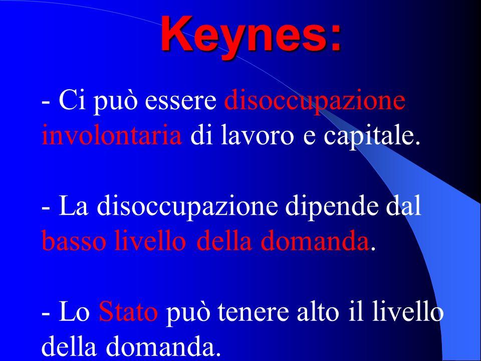 Keynes: - Ci può essere disoccupazione involontaria di lavoro e capitale. - La disoccupazione dipende dal basso livello della domanda. - Lo Stato può