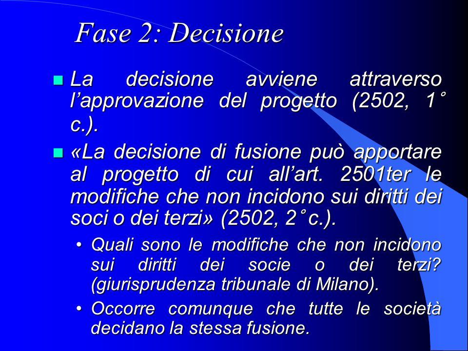 Fase 2: Decisione La decisione avviene attraverso lapprovazione del progetto (2502, 1° c.). La decisione avviene attraverso lapprovazione del progetto