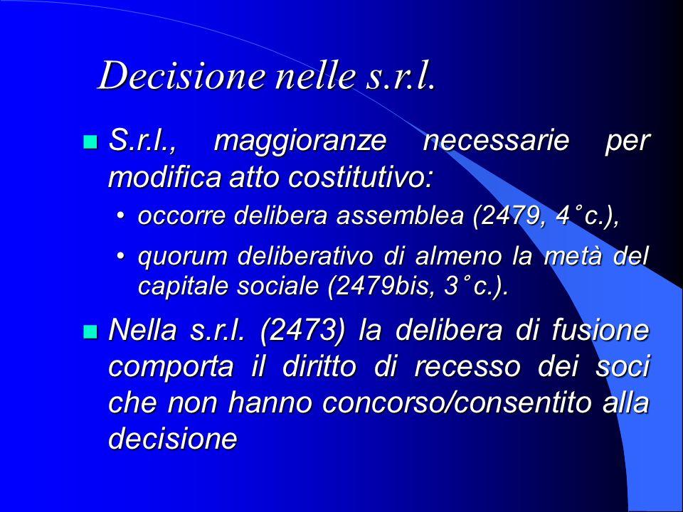 Decisione nelle s.r.l. S.r.l., maggioranze necessarie per modifica atto costitutivo: S.r.l., maggioranze necessarie per modifica atto costitutivo: occ