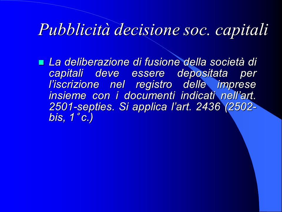 Pubblicità decisione soc. capitali La deliberazione di fusione della società di capitali deve essere depositata per liscrizione nel registro delle imp