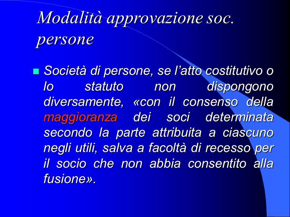 Modalità approvazione soc. persone Società di persone, se latto costitutivo o lo statuto non dispongono diversamente, «con il consenso della maggioran
