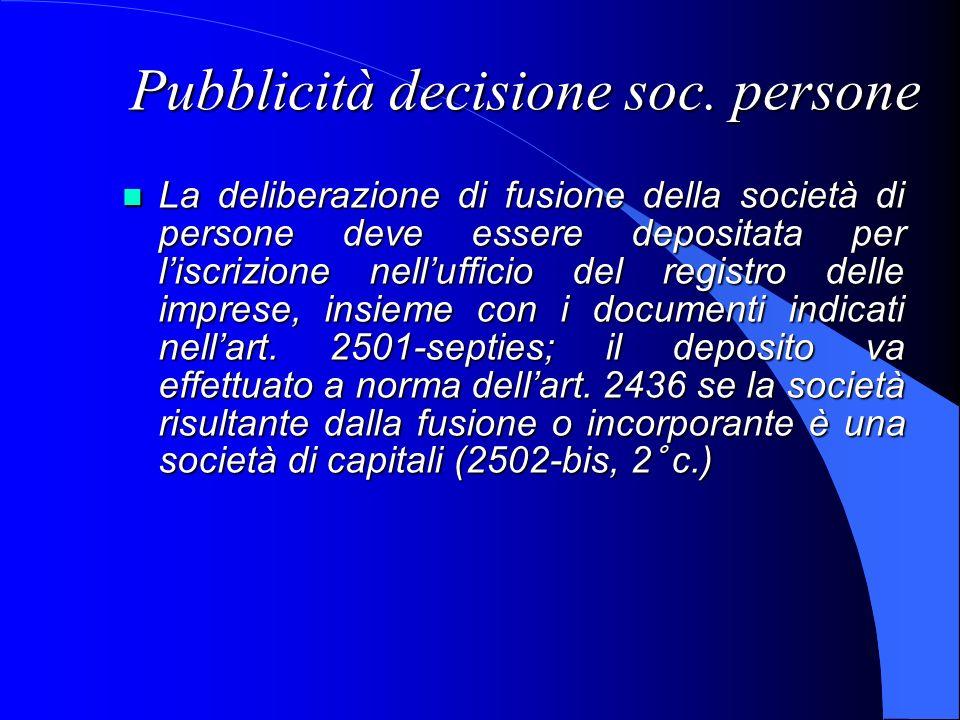 Pubblicità decisione soc. persone La deliberazione di fusione della società di persone deve essere depositata per liscrizione nellufficio del registro