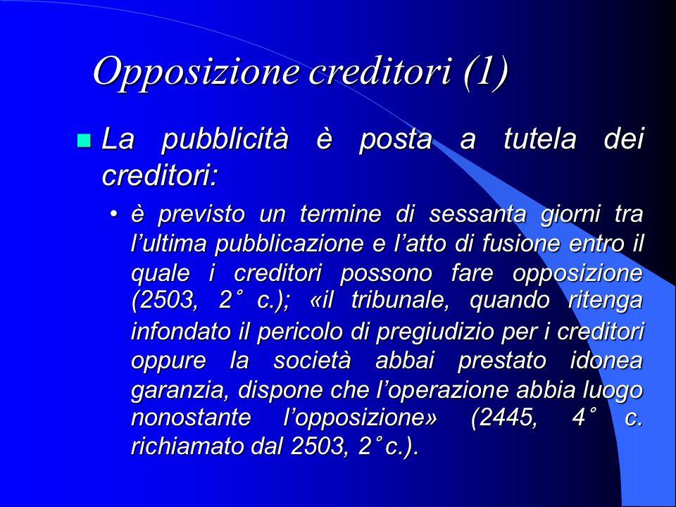 Opposizione creditori (1) La pubblicità è posta a tutela dei creditori: La pubblicità è posta a tutela dei creditori: è previsto un termine di sessant