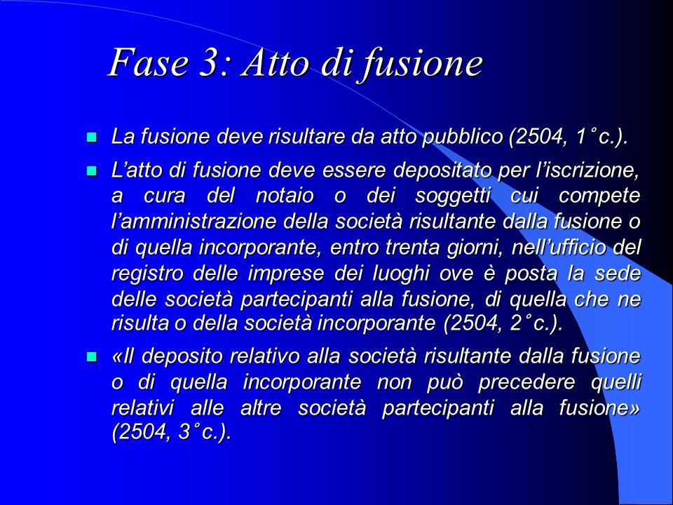 Fase 3: Atto di fusione La fusione deve risultare da atto pubblico (2504, 1° c.). La fusione deve risultare da atto pubblico (2504, 1° c.). Latto di f