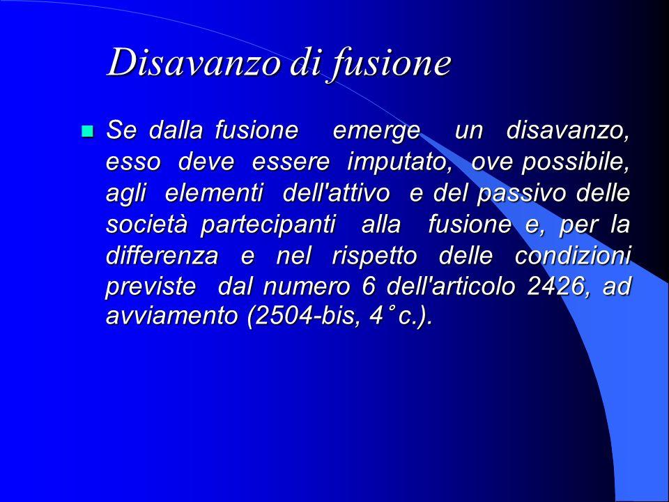 Disavanzo di fusione Se dalla fusione emerge un disavanzo, esso deve essere imputato, ove possibile, agli elementi dell'attivo e del passivo delle soc