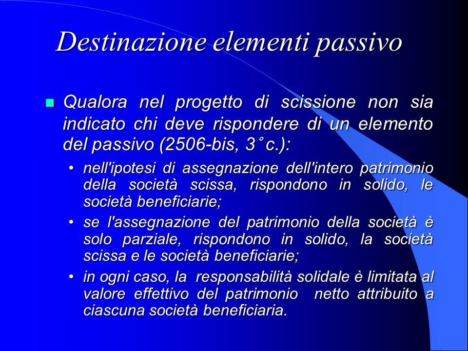 Destinazione elementi passivo Qualora nel progetto di scissione non sia indicato chi deve rispondere di un elemento del passivo (2506-bis, 3° c.): Qua