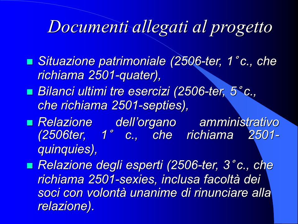 Documenti allegati al progetto Situazione patrimoniale (2506-ter, 1° c., che richiama 2501-quater), Situazione patrimoniale (2506-ter, 1° c., che rich