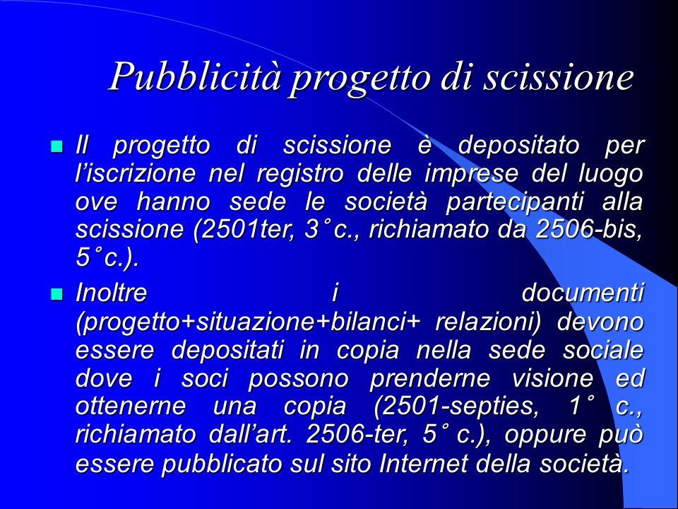 Pubblicità progetto di scissione Il progetto di scissione è depositato per liscrizione nel registro delle imprese del luogo ove hanno sede le società
