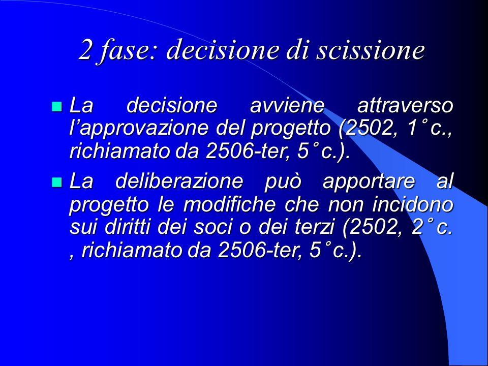 2 fase: decisione di scissione La decisione avviene attraverso lapprovazione del progetto (2502, 1° c., richiamato da 2506-ter, 5° c.). La decisione a