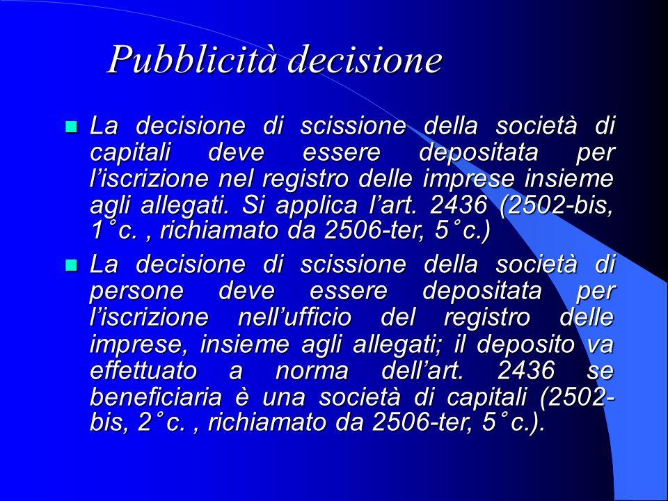 Pubblicità decisione La decisione di scissione della società di capitali deve essere depositata per liscrizione nel registro delle imprese insieme agl