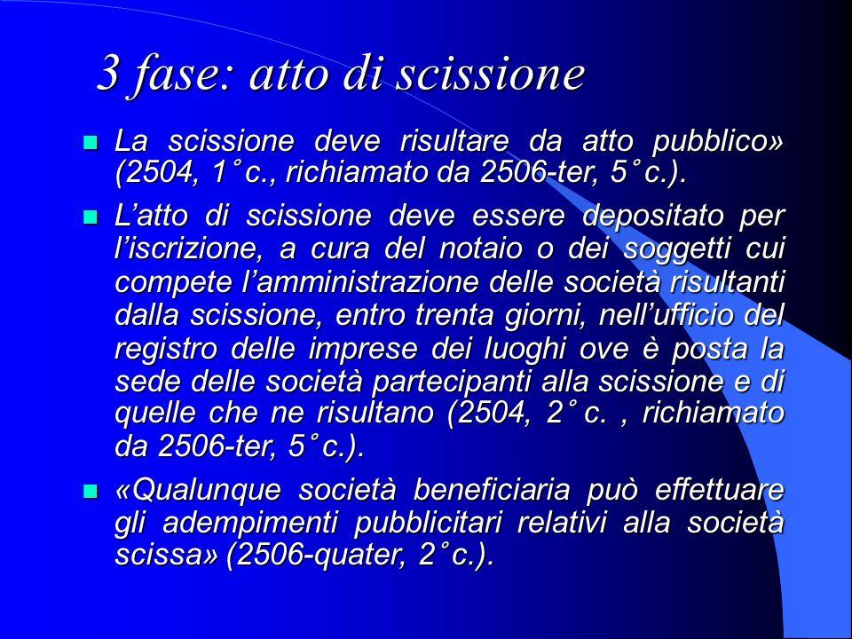3 fase: atto di scissione La scissione deve risultare da atto pubblico» (2504, 1° c., richiamato da 2506-ter, 5° c.). La scissione deve risultare da a