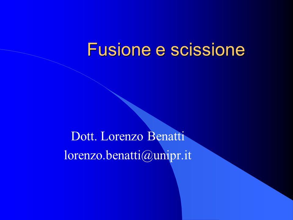 Fusione e scissione Dott. Lorenzo Benatti lorenzo.benatti@unipr.it