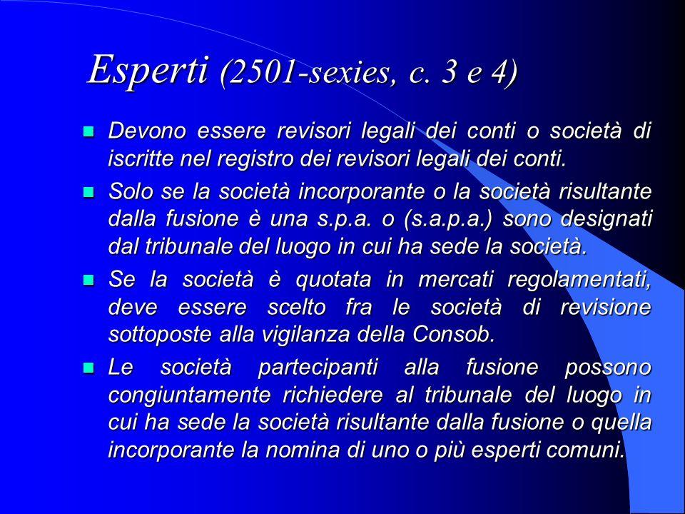 Esperti (2501-sexies, c. 3 e 4) Devono essere revisori legali dei conti o società di iscritte nel registro dei revisori legali dei conti. Devono esser