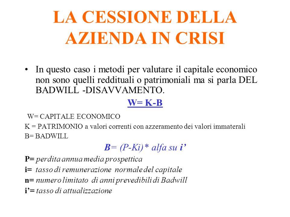 LA CESSIONE DELLA AZIENDA IN CRISI In questo caso i metodi per valutare il capitale economico non sono quelli reddituali o patrimoniali ma si parla DEL BADWILL -DISAVVAMENTO.