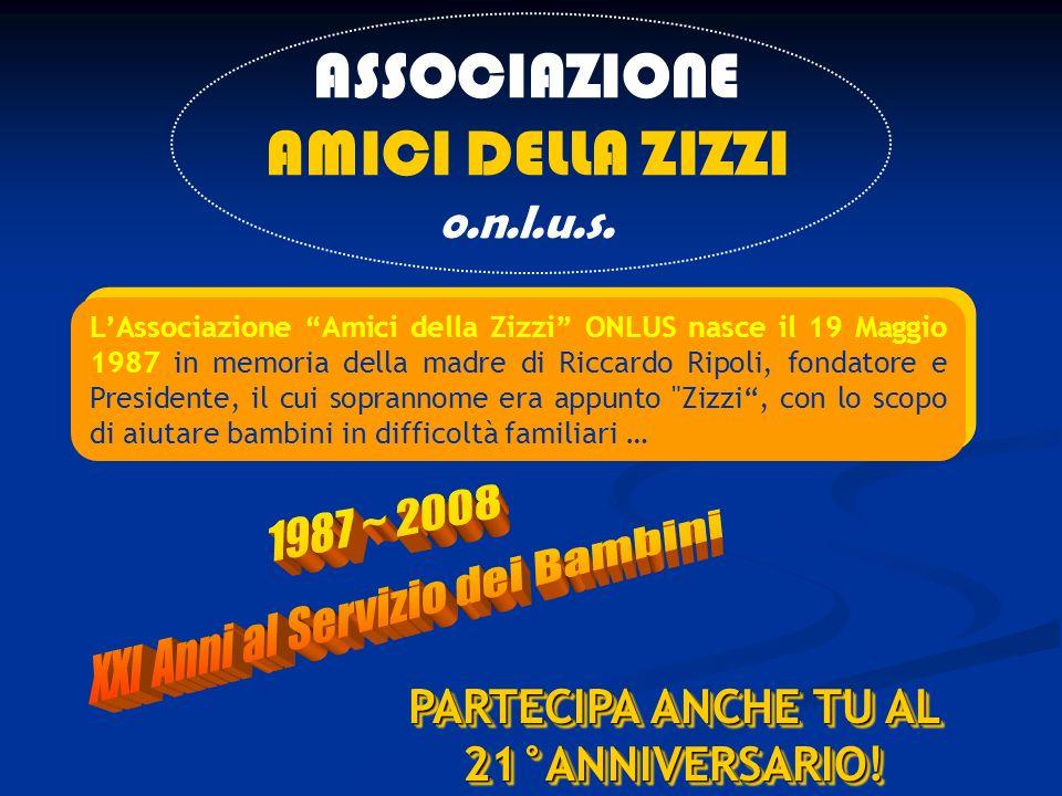 ASSOCIAZIONE AMICI DELLA ZIZZI o.n.l.u.s. LAssociazione Amici della Zizzi ONLUS nasce il 19 Maggio 1987 in memoria della madre di Riccardo Ripoli, fon